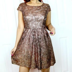 Kensie Bronze Fit and Flare Party Dress